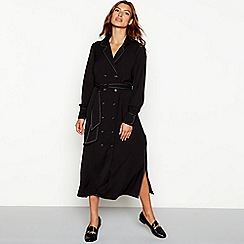 Red Herring - Black contrast topstitch long sleeve midi shirt dress