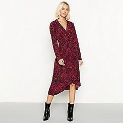 Red Herring - Leopard print long sleeve V-neck midi dress