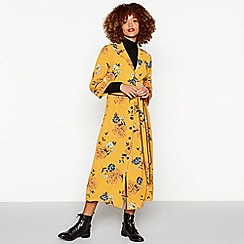 Red Herring - Dark yellow floral print crepe midi dress