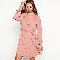 Red Herring - Mid rose top stitch long sleeve mini shirt dress
