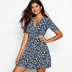Red Herring - Blue floral print wrap dress