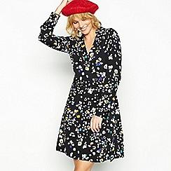 Red Herring - Black floral animal print knee length dress