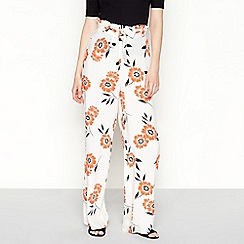 Red Herring - Orange floral print loose fit trousers