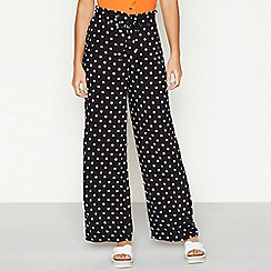 Red Herring - Black polka dot print loose fit high waist trousers