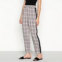 Red Herring - Light pink check print side stripe trousers