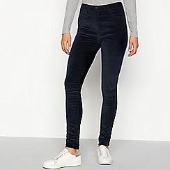 Red Herring - Dark blue velvet 'Heidi' skinny fit trousers