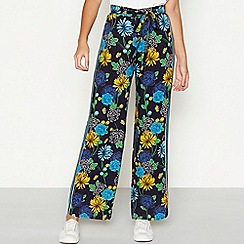 Red Herring - Navy floral print loose fit high waisted trousers