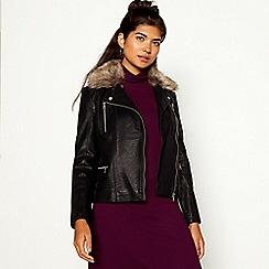 Red Herring - Black faux fur collar PU jacket