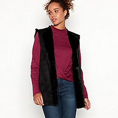 Red Herring - Black reversible suedette faux fur gilet