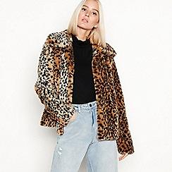 Red Herring - Light brown faux-fur leopard print jacket