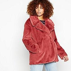 Red Herring - Dark pink faux fur jacket