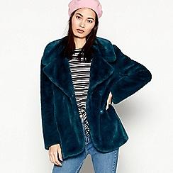Red Herring - Dark Turquoise Faux Fur Jacket