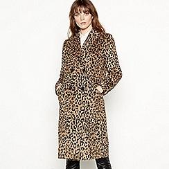 Red Herring - Leopard print wool blend longline coat