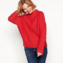 Red Herring - Red moss stitch high neck jumper