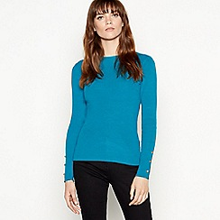 Red Herring - Dark turquoise button cuff jumper