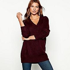 Red Herring - Wine oversized V-neck jumper