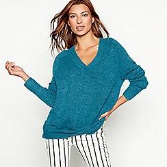 Red Herring - Bright blue oversized V-neck jumper