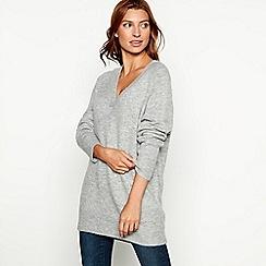 Red Herring - Grey oversized V-neck jumper