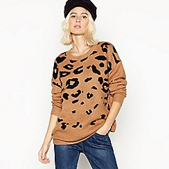 Red Herring - Brown leopard print knitted jumper