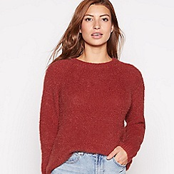 Red Herring - Dark tan shimmer eyelash knit jumper
