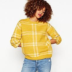 Red Herring - Dark yellow checked knit jumper