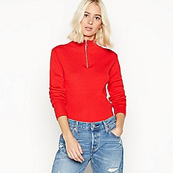 Red Herring - Red ribbed zip neck jumper