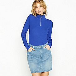 Red Herring - Blue ribbed zip neck jumper