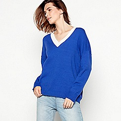 Red Herring - Blue slouchy V-neck jumper