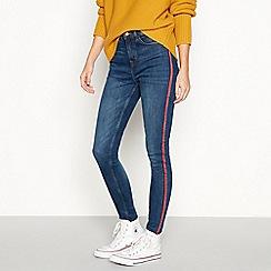 Red Herring - Dark blue mid wash stripe 'Mila' high waisted skinny jeans