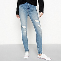 Red Herring - Blue 'Mila' high waist ripped skinny jeans