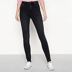 Red Herring - Black 'Mila' high waist ripped skinny jeans