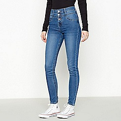 Red Herring - Mid blue mid wash 'Carly' waist enhancer skinny jeans