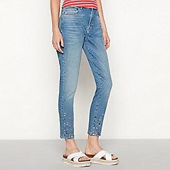 Red Herring - Blue embellished mid wash ankle grazer jeans