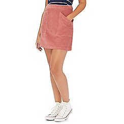 Red Herring - Pale pink cord mini skirt