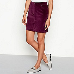 Red Herring - Purple cotton cord mini skirt
