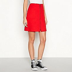 Red Herring - Red zip front mini skirt