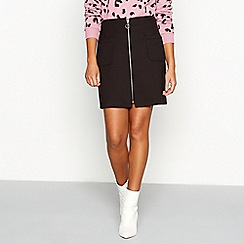 Red Herring - Black zip front mini skirt