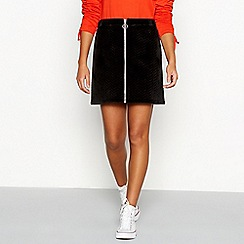 Red Herring - Black velour zip front quilted skirt