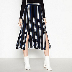 Red Herring - Black striped split hem midi skirt