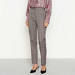 Red Herring - Multicoloured check print high waisted tailored trousers