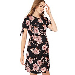 Red Herring Maternity - Black floral print jersey knee length maternity dress