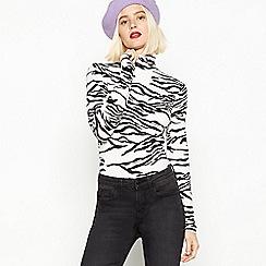 Red Herring - Multicoloured Zebra Print Roll Neck Top