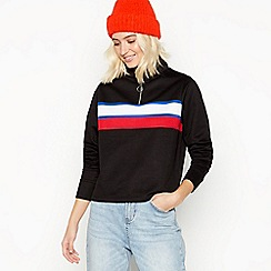Red Herring - Black stripe front zip neck polo top