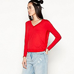 Red Herring - Red Sporty V-Neck Cropped Top