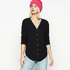 Red Herring - Black Button Through Top