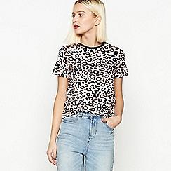 Red Herring - Pink Leopard Print Cotton T-Shirt
