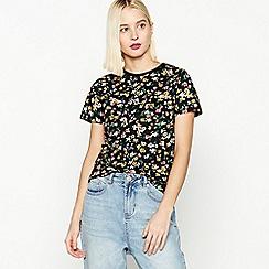 Red Herring - Black Floral Print 'Faye' Cotton T-Shirt