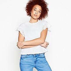 Red Herring - White Broderie Sleeve T-Shirt