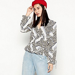 Red Herring - Black Leopard Print Cropped Blouse