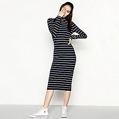 Red Herring - Multicoloured Stripe Print Ribbed Midi Dress